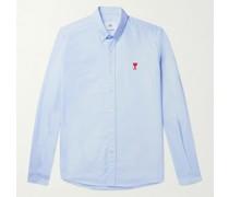 Button-Down Collar Logo-Embroidered Cotton Oxford Shirt
