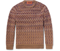 Chevron-knitted Wool-blend Sweater