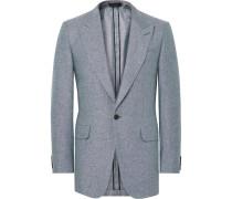 Blue Slim-fit Slub Silk And Linen-blend Blazer