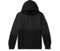 Panelled Fleece-Back Cotton-Jersey and Shell Zip-Up Hoodie