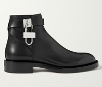 Embellished Croc-Effect Leather Chelsea Boots