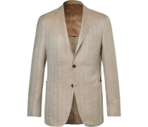 Beige Kei Slim-fit Herringbone Wool, Silk And Linen-blend Blazer