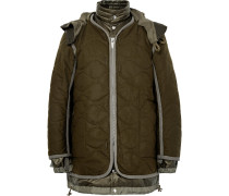 Layered Quilted Wool And Shell Parka