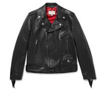 Patch-embellished Fringed Leather Biker Jacket