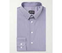 Slim-Fit Pinstriped Cotton-Blend Shirt