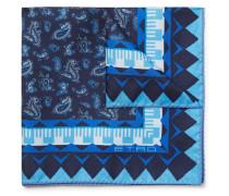 Paisley-print Silk-twill Pocket Square - Navy