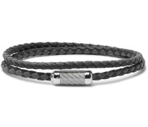 Monte Carlo Woven Leather Sterling Silver Bracelet