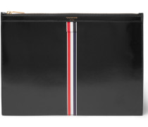 Striped Patent Leather Pouch