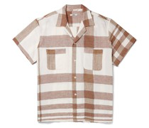 Camp-Collar Checked Embroidered Linen and Cotton-Blend Shirt