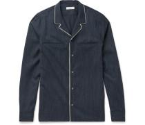 Contrast-tipped Camp-collar Virgin Wool Shirt