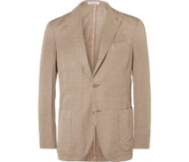 Brown Slub Cotton And Linen-blend Suit Jacket