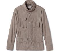 Slim-fit Corduroy-effect Suede Field Jacket