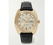 Q Timex Reissue 38mm Gold-Tone and Croc-Effect Leather Watch