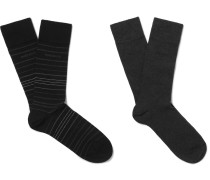 Two-pack Striped Stretch Cotton-blend Socks