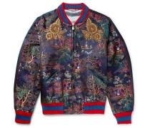 Embroidered Jacquard Bomber Jacket