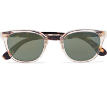 Lerner Square-frame Clear And Tortoiseshell Acetate Mirrored Sunglasses