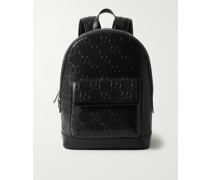 Logo-Embossed Perforated Leather Backpack