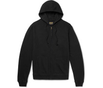 Embroidered Fleece-back Cotton-jersey Zip-up Hoodie