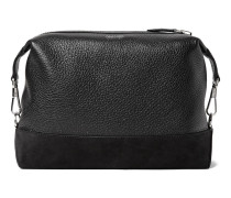 Suede-panelled Full-grain Leather Wash Bag