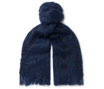 Awamu Fringed Embroidered Mohair Scarf