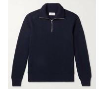 Ribbed Merino Wool Half-Zip Sweater
