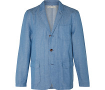 Unstructured Herringbone Linen and Cotton-Blend Chambray Blazer