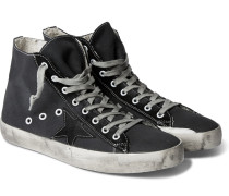 Francy Distressed Canvas And Suede Sneakers