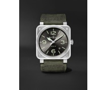 BR 03-92 Grey Lum Automatic 42mm Stainless Steel and Leather Watch, Ref. No. BR0392-GC3-ST/SCA