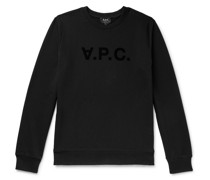 Logo-Flocked Loopback Cotton-Jersey Sweatshirt