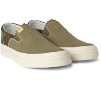 Skagway Suede And Canvas Slip-on Sneakers