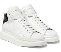 Exaggerated-sole Leather High-top Sneakers
