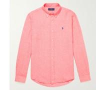 Slim-Fit Button-Down Collar Logo-Embroidered Linen Shirt