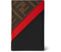 Logo-Jacquard Coated-Canvas and Leather Bifold Cardholder