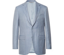 Slim-Fit Light-Blue Wool, Silk and Linen-Blend Blazer