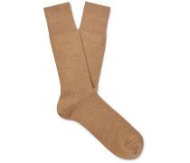 Ribbed Cotton-Blend Socks