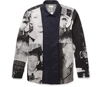 Creely Satin-Trimmed Printed Cotton-Voile Shirt