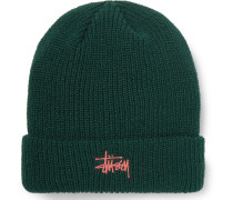 Logo-Embroidered Ribbed-Knit Beanie