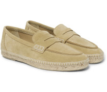 Suede Espadrille Penny Loafers