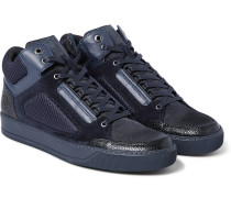 Leather And Mesh High-top Sneakers