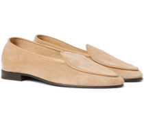 Hampton Leather-Trimmed Suede Loafers