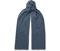 Fringed Mélange Baby Cashmere and Linen-Blend Scarf