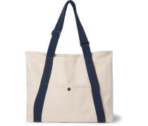 + Pilgrim Surf + Supply Webbing-Trimmed Logo-Embroidered Cotton-Canvas Tote Bag