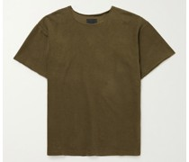 Oversized Distressed Cotton-Terry T-Shirt