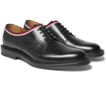 Grosgrain-trimmed Leather Derby Shoes