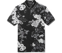 Slim-fit Floral-print Cotton-piqué Polo Shirt