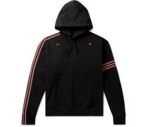 + 424 Logo-Embroidered Striped Fleece-Back Cotton-Jersey Hoodie