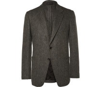 Grey Slim-fit Herringbone Wool And Cashmere-blend Blazer