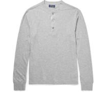Mélange Cotton-jersey Henley T-shirt