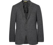 Grey Kei Slim-fit Unstructured Slub Herringbone Wool-blend Blazer