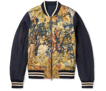 Reversible Shell And Printed Satin Bomber Jacket
